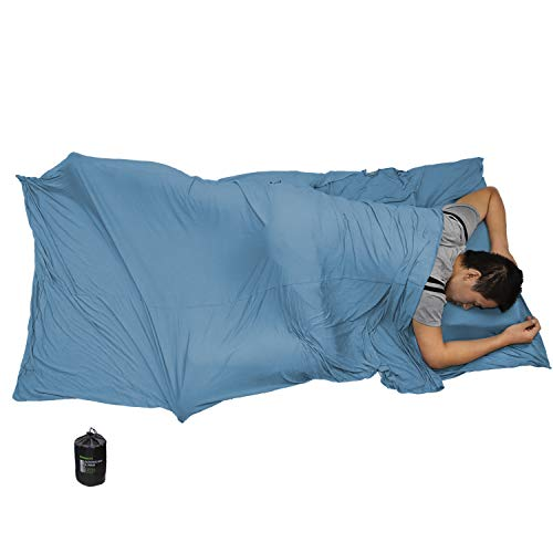 Browint Bamboo Travel Sheet - Eco Friendly, Stretch Jersey Roomy Sleep Sack Hotels, Hypoallergenic Wrinkle Resistant, Portable Sleep Sheet Travel, Rectangular Pillow Pocket