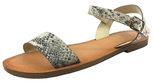 Python Collection - Wells Collection Womens ANIBEL Studded Over The Toe Sandal Flat with Ankle Strap, Snake Python 8