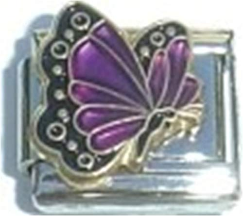 Stylysh Charms Birthstone Coloured Butterfly Enamel 9mm Link