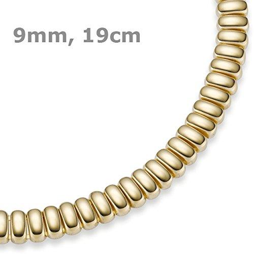 9 Mm, couleur les bracelets bracelet en or jaune 585, 19 cm, fixation