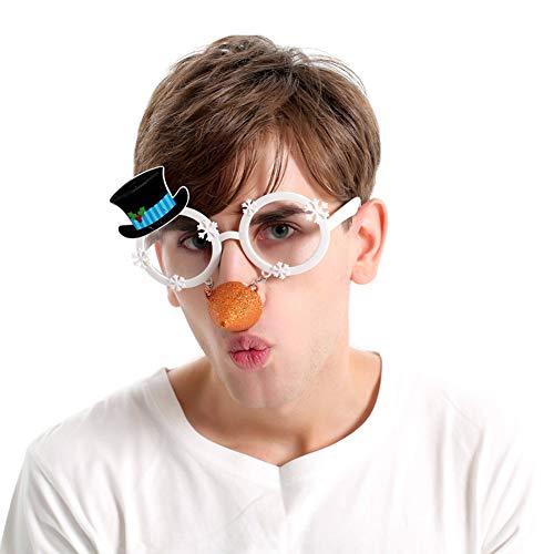 Novelty Glittered Christmas Decoration Fanci-Frames Party Accessory Snowman Eyeglasses ()