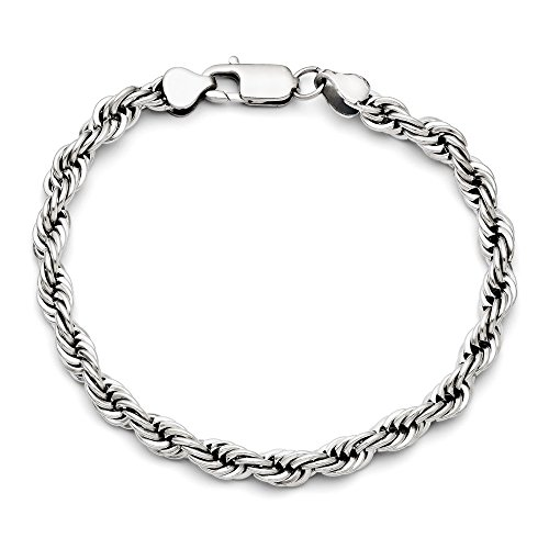 Rope Bracelet Fancy (Stainless Steel Fancy Lobster Closure Polished 6mm Rope Bracelet - 8.5 Inch)