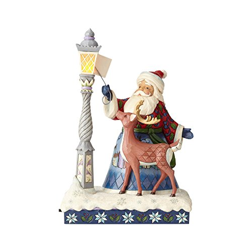 Enesco Jim Shore Heartwood Creek Santa by Lighted Lamppost, 11