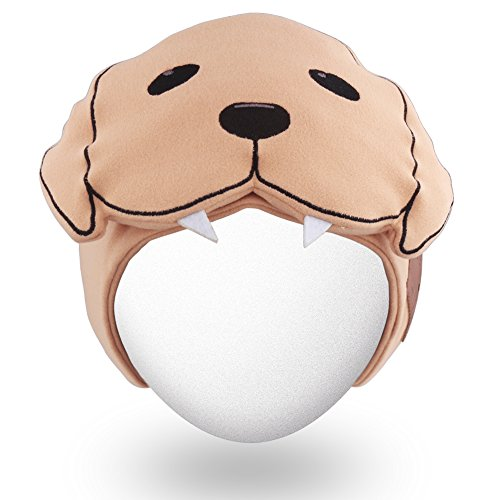 Qshell Cute Dog Bluetooth Headband Sleepphone Sleeping Eyemask with Wireless Headphones Headsets Speakers for Gym Fitness Sports, Compatible with iPhone Android Cell Phones-Khaki