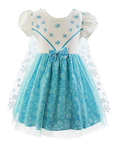 Padete Baby Girl Princess Anna Alice Elsa Little Mermaid Snow White Dress Costume (18-24 Months, Elsa) -