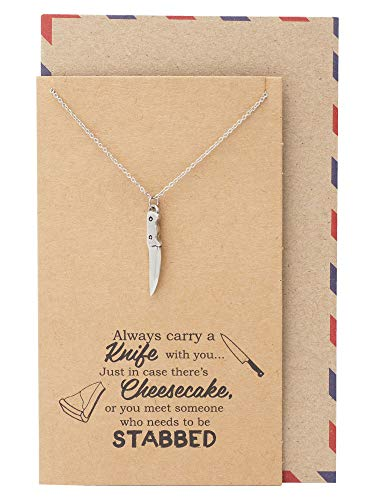 ef Knife Necklace, Chef Knife Pendant Gifts for Women, Men and BFF with Funny Quotes on Greeting Card ()