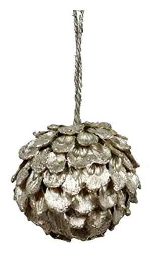 JMB Christmas Pinecone Peel Champagne Lightly Glittered Ornaments Choice of 6