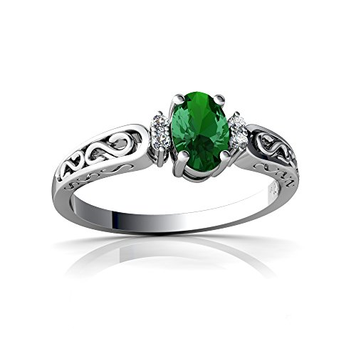 14kt White Gold Lab Emerald and Diamond 6x4mm Oval filligree Scroll Ring - Size 5