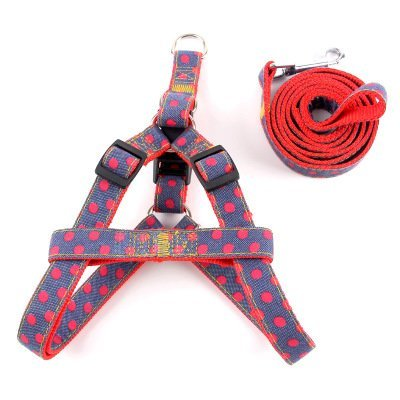 TLMY Pet Denim Leash Polka Dot Pattern Pet Chest Back A Variety Of Specifications Dog Chain Pet Chain (color   2, Size   L)