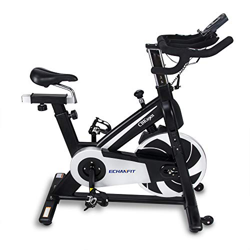 ECHANFIT Exercise Bike, Magnetic Belt Drive Cycling Indoor Bike, Home Gym Fitness with LCD Monitor, Ergonomic Cushion, Effective Flywheel, Tablet and Water Bottle Holder, Black