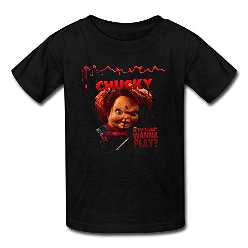 YING Kids Chucky Doll Short Sleeve Cotton T-Shirt Black Medium ()