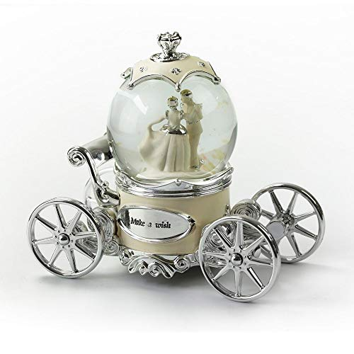 MusicBoxAttic Romantic Pearl White, Ivory and Silver Fairy Tale Snow Globe Carriage - Under The Sea (The Little Mermaid) (Little Mermaid Snow Globe Under The Sea)