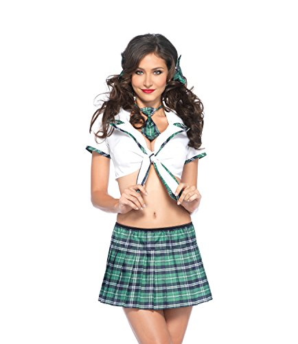 Leg Avenue Women's 4 Piece Miss Prep School Costume Includes Hair Bows With Cropped Shirt Top And Sk - coolthings.us