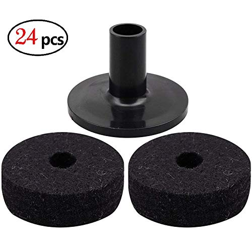elegantstunning Cymbal Stand Felt Washer Plastic Drum Cymbal Stand Sleeves Replacement Black (24pcs) by elegantstunning