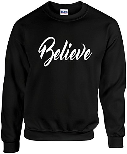 Signature Depot Unisex Funny Crewneck Size XL (Believe (Religious God Faith) Sweatshirt Believe Sweatshirt