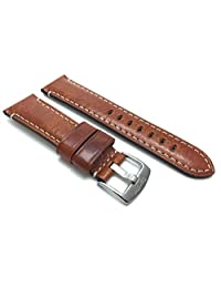 Elegant 22mm Tan Watch Strap Band, Glossy Finish, Double Stitching