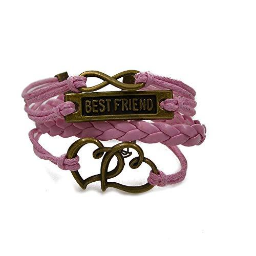 - CHOP MALL Pink Best Friend Double Heart Multi-Layer Braided Bracelet Wrap Cuff Bangle for Boy/Girl/Men/Women/