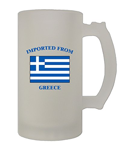 Imported From Greece Greek Greeks 16 Oz Frosted Glass Stein Beer Mug