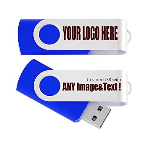 100 Pack 2GB USB Flash Drive Custom USB Thumb Drive Promotional Memory Stick Personalized Logo Jump Drive Twister Swivel Design in Bulk - PMS 286C