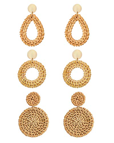 CEALXHENY Rattan Earrings for Women Handmade Straw Wicker Braid Drop Dangle Earrings Lightweight Geometric Statement Earrings (E 3PC Set)