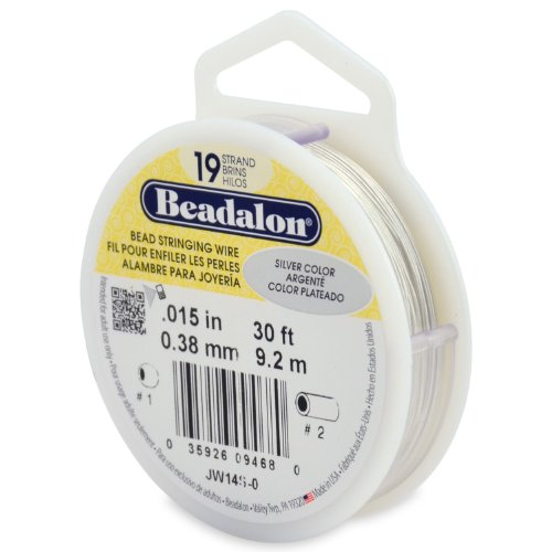 Beadalon 19-Strand Bead Stringing Wire, 0.015-Inch, Silver Color, 30-Feet Silver 30' Cable