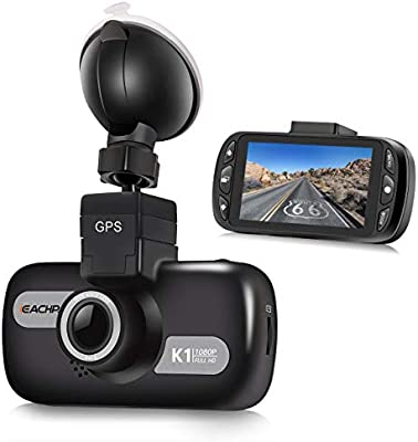 Dual Dash Cam,EACHPAI K2 3 IPS Touch Car Dash Camera Front and Rear Builtin GPS Dashboard 2.0MP Full HD 1080P Digital Driving Video Recorder Wide Angle Super Capacitor WDR G-Sensor Loop Record