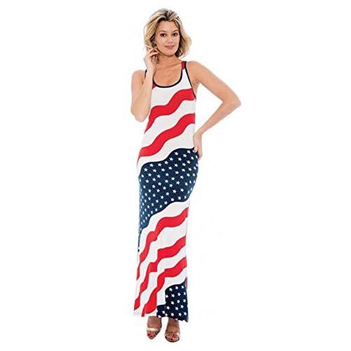 504bf864c1d Women s Patriotic USA American Flag Long Maxi Dress 70%OFF ...