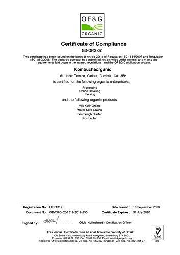 Kombuchaorganic®, kefir, grani di fermenti vivi di latte vaccino biologico