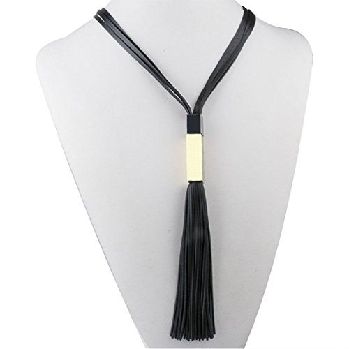 PERFIN 2015 Women Fashion Jewelry, Long Leather Tassels Necklace. (Black & Gold)