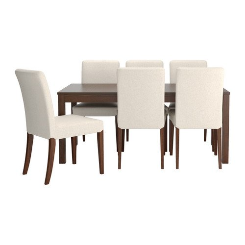 Ikea Table and 6 chairs, brown, Linneryd natural 42018.261717.1830