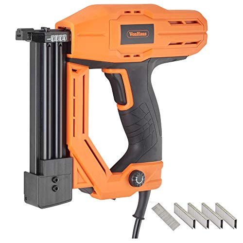 - VonHaus Corded Electric 18 Gauge Brad Nailer and Stapler Kit - 500 Staples and 500 Brad Nails