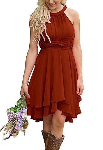 Faxpox Meledy Women's Ruched Chiffon Beach Wedding Party Dress Short Bridal Party Gown New Bridesmaid Dresses Size 20 Rust