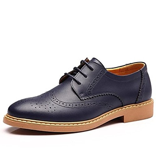Lace Piatto Tacco Casual Oxfords Carriera Estate up Autunno Inverno Uomo Da Leather Primavera Blue Comfort Office F4wHAS