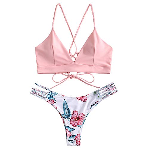 ZAFUL Women Braided Straps Lace Up Bikini Set Bralette Swimsuit Flower Bathing Suit Pink L