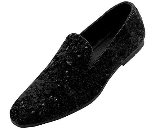 Amali Men's Velvet Smoking Slipper, Loafer Dress Shoes Black/Paisley