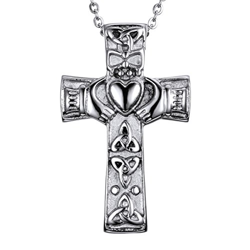 HooAMI Cross and Heart Memorial Necklace - Celtic Claddagh Cremation Ashes Urn Pendant (Claddagh Keepsake)