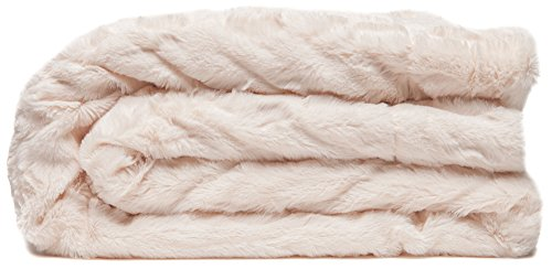 "Chanasya Faux Fur Bed Throw Blanket - Super Soft Fuzzy Cozy Warm Fluffy Beautiful Color Variation Print Plush Sherpa Microfiber ivory Blanket (60"" x 70"") - Ivory"