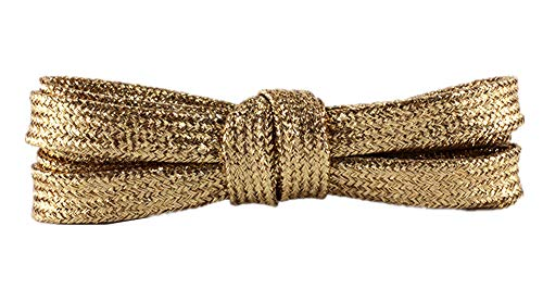 (1 Pair Shiny Gold Shoelaces Metallic Glitter Flat Shoelaces Sparkly Bootlaces Shimmering Shoelaces for Canvas Sneaker Athletic (Light gold))