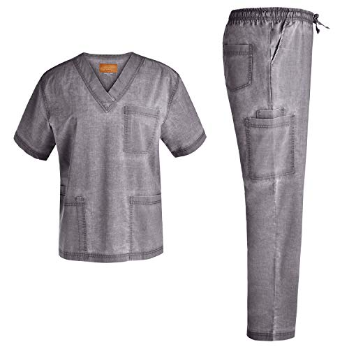 Men V-Neck Stretch Scrub Set - Medical Uniforms Men Top and Pants Jeanish Nursing Scrubs Washed Superior Softness JS8302 (Pewter,XL)