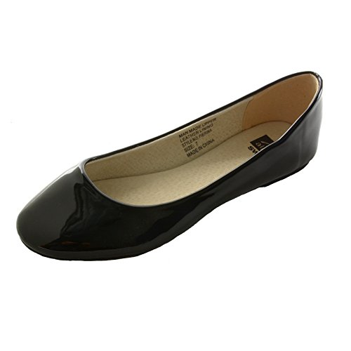 alpine swiss Women's Black Faux Patent Leather Pierina Ballet Flats 5 M (Black Patent Leather Ballerina)