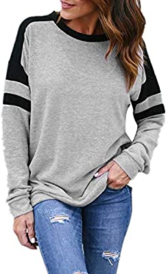 Big Promotion! Teresamoon Womens Casual Stitching O-Neck Long Sleeve Sweatshirt Pullover Tops Blouse