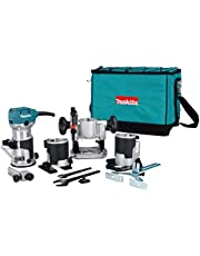 Makita RT0701CX8 1-1/4 HP Trimmer/Router Kit, Blue