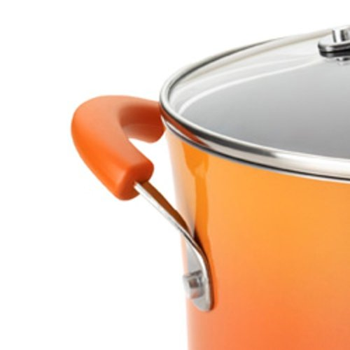 Rachael Ray Porcelain Enamel II Nonstick 5-Quart Covered Oval Saute, Orange Gradient