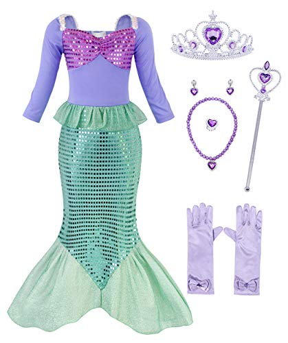 MetCuento Little Mermaid Dress Ariel Cosume for Girls Fancy Party Princess Dress Up Halloween Cosplay Birthday Outfit(8-9 Years, Accessories) Size 10