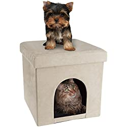 PETMAKER Pet House Ottoman- Collapsible Multipurpose Cat Small Dog Bed Cube Footrest Cushion Top Interior Pillow (Microsuede Tan)
