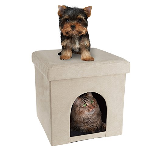 PETMAKER Pet House Ottoman- Collapsible Multipurpose Cat or Small Dog Bed Cube and Footrest with Cushion Top and Interior Pillow (Microsuede Tan) ()