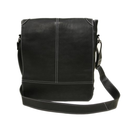 Piel Leather Urban Vertical Messenger Bag, Black, One Size by Piel Leather