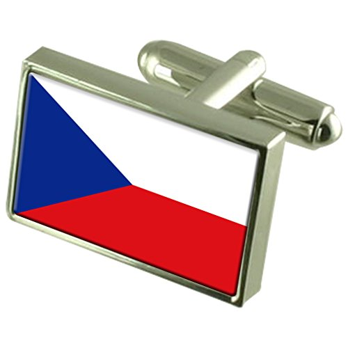 The Czech Republic Sterling Silver Flag Cufflinks in Engraved Personalised Box by Select Gifts