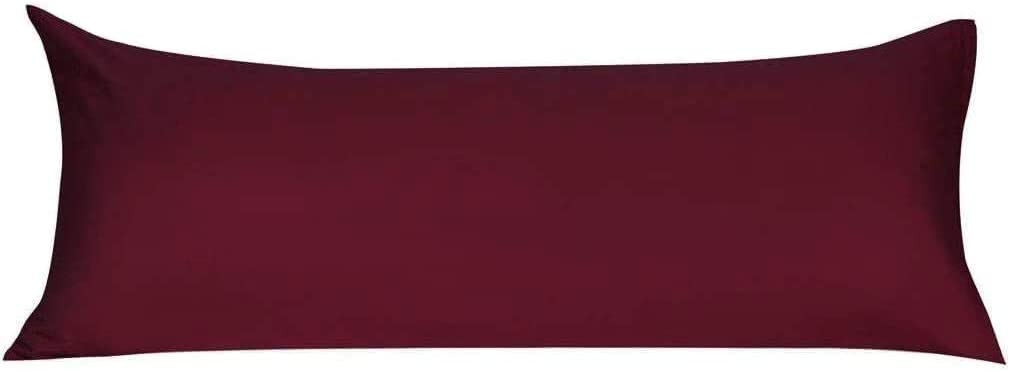 Body Pillow Cover 20X54 Body Pillow Case Wine Cotton Body Pillow Cover Zipper Closer Premium 500 Thread Count 100% Egyptian Cotton Hotel Quality 1-Pieces Body Pillowcase 20x54 - Wine Solid: Home & Kitchen