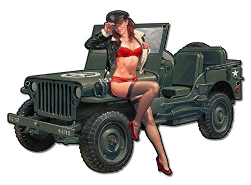 (American Collectibles Willys Overland Military Jeep Pin-Up Greg Hildebrandt Metal Sign)